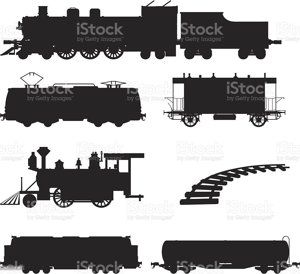 Train Silhouette Collection royalty-free stock vector art