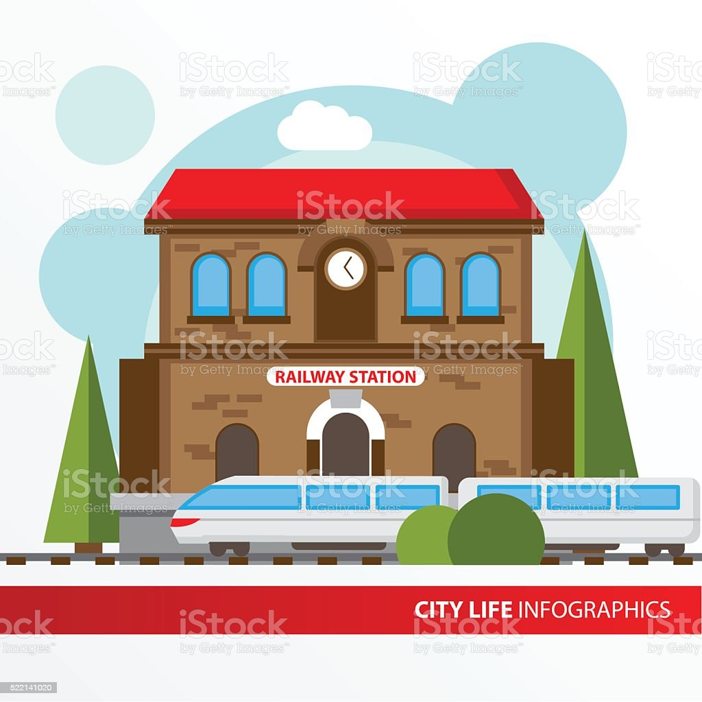 Train station building icon in the flat style. vector art illustration