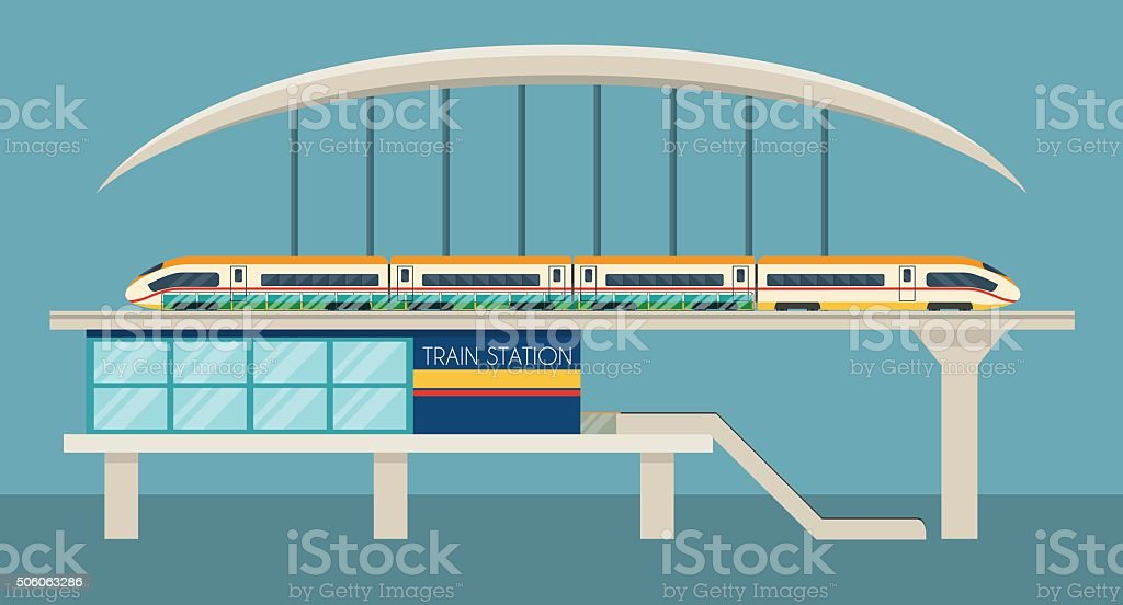 Train station vector art illustration