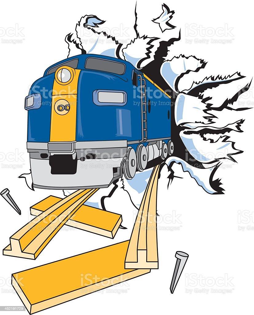 Train Tearing Through Paper royalty-free stock vector art