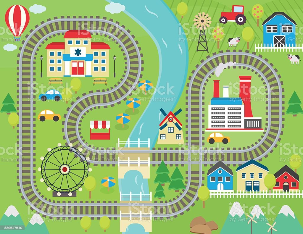 Train track play placemat vector art illustration