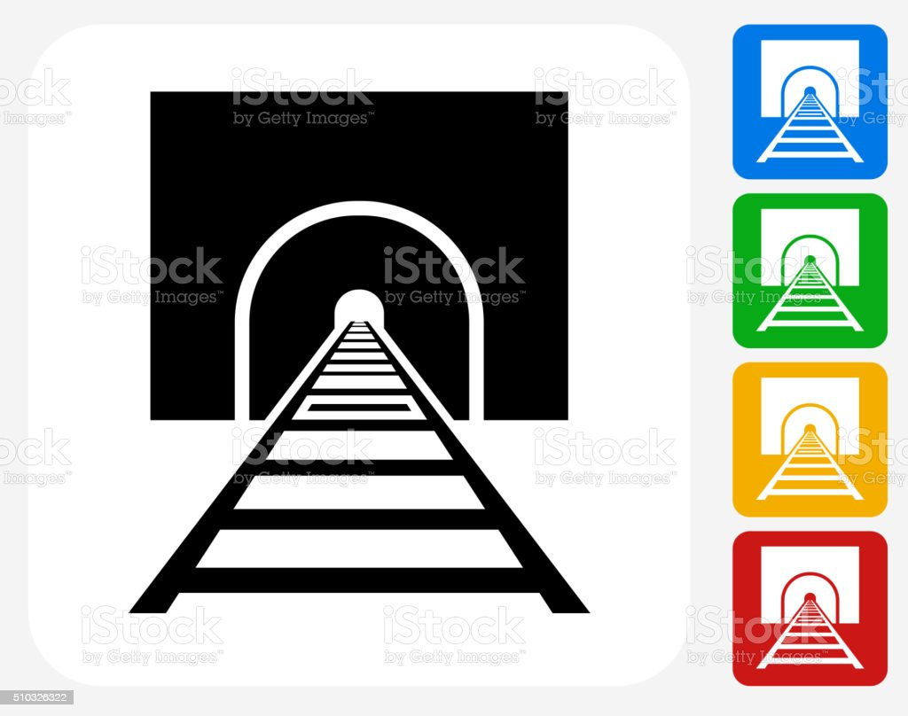 Train Tracks Icon Flat Graphic Design vector art illustration