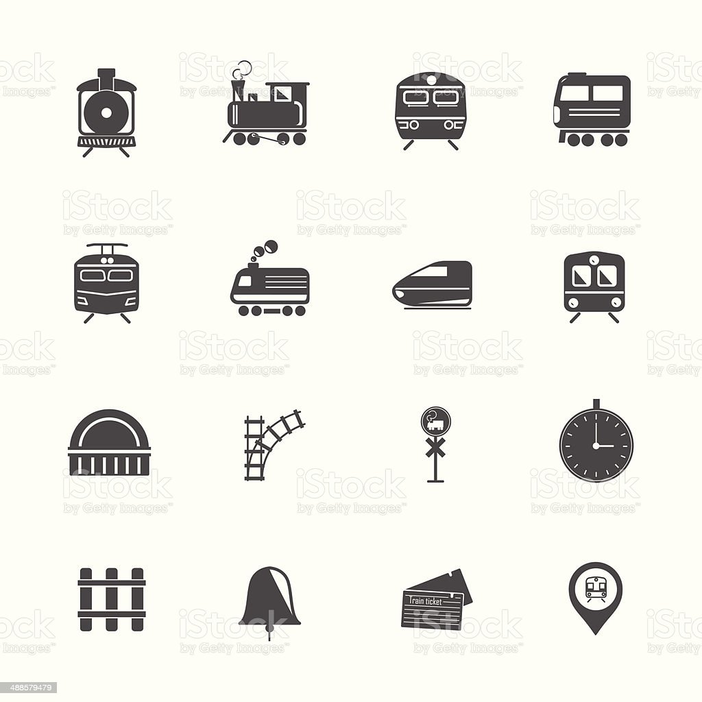 Train Transport Icons vector art illustration