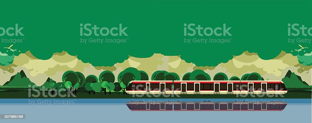 train travel the countryside vector art illustration