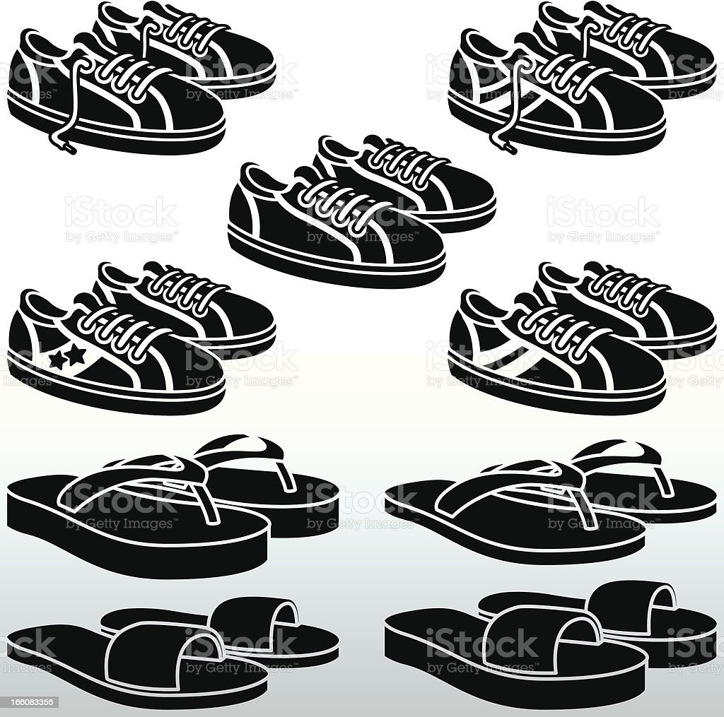 Trainers and FlipFlops black&white royalty-free stock vector art