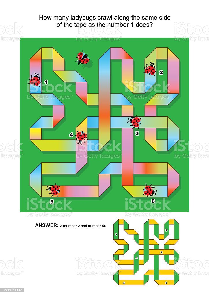 IQ training abstract visual puzzle with ladybugs and curling tape vector art illustration