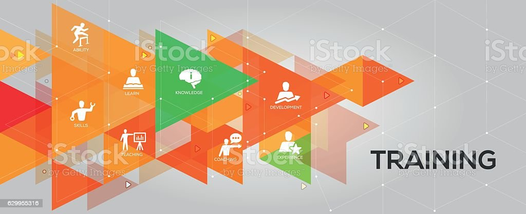 Training banner and icons vector art illustration