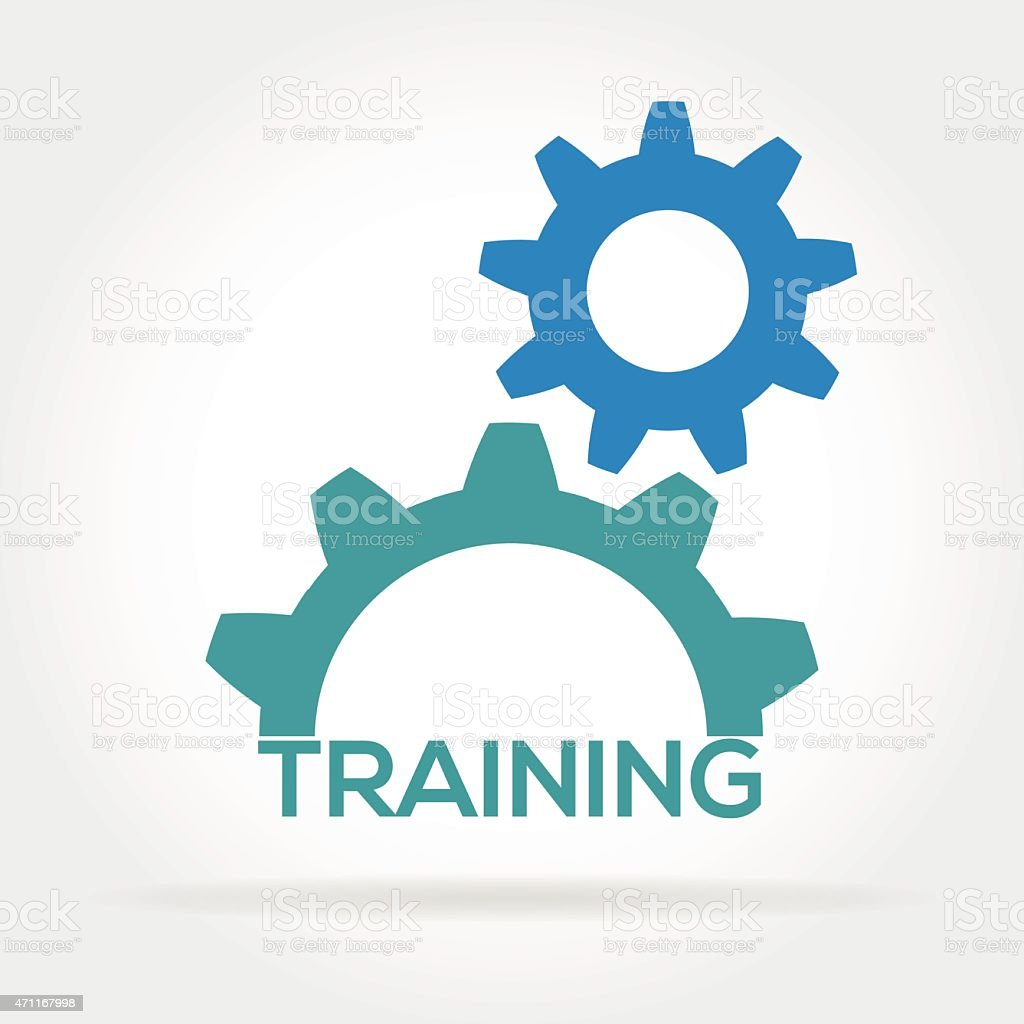 training cogs and gears vector art illustration