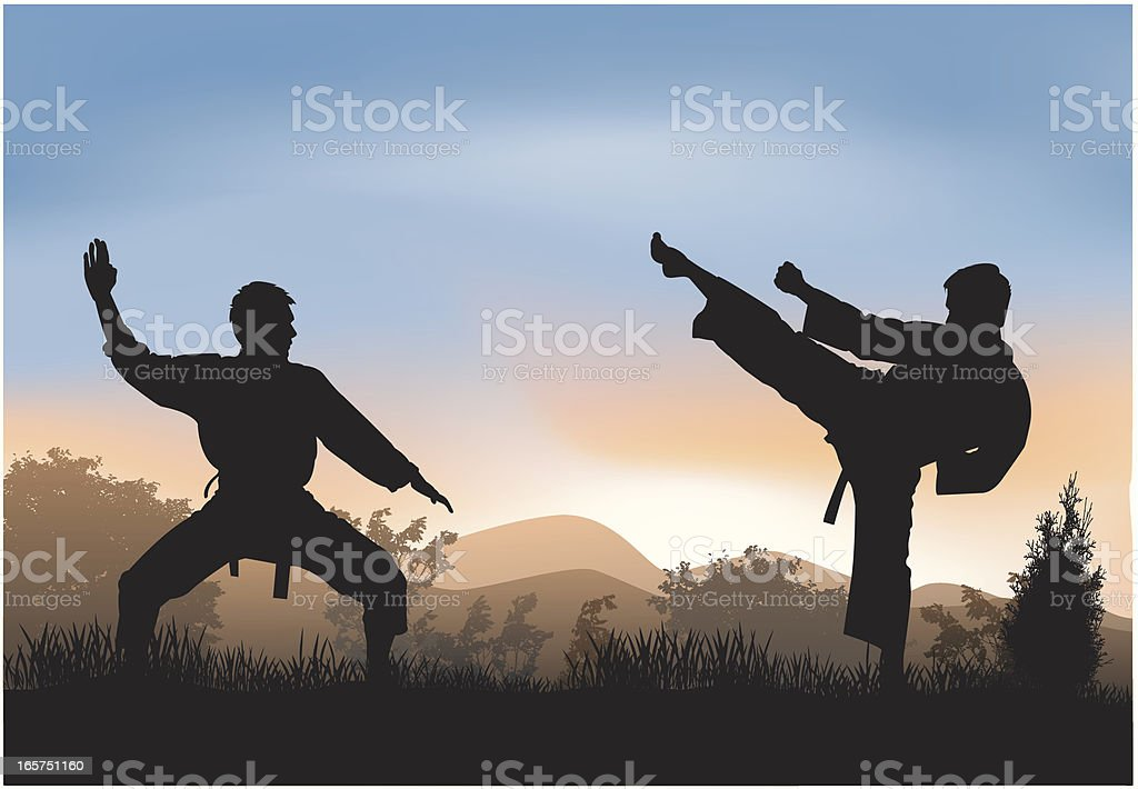 Training in nature royalty-free stock vector art
