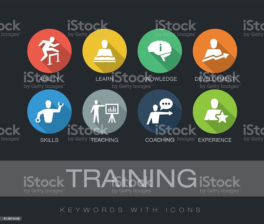 Training keywords with icons vector art illustration