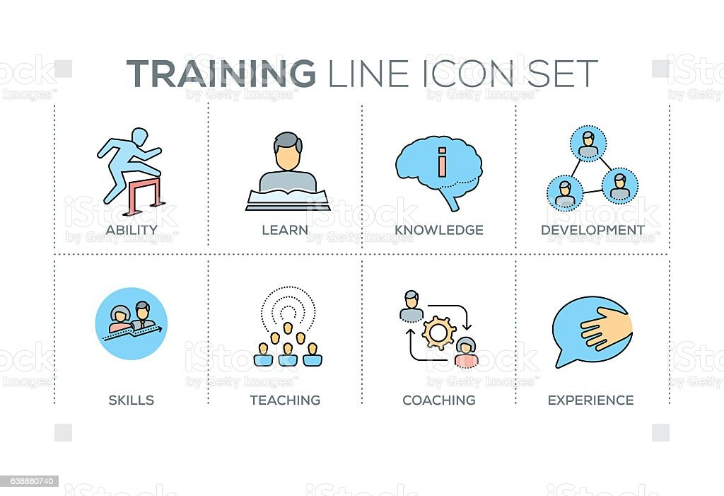 Training keywords with line icons vector art illustration