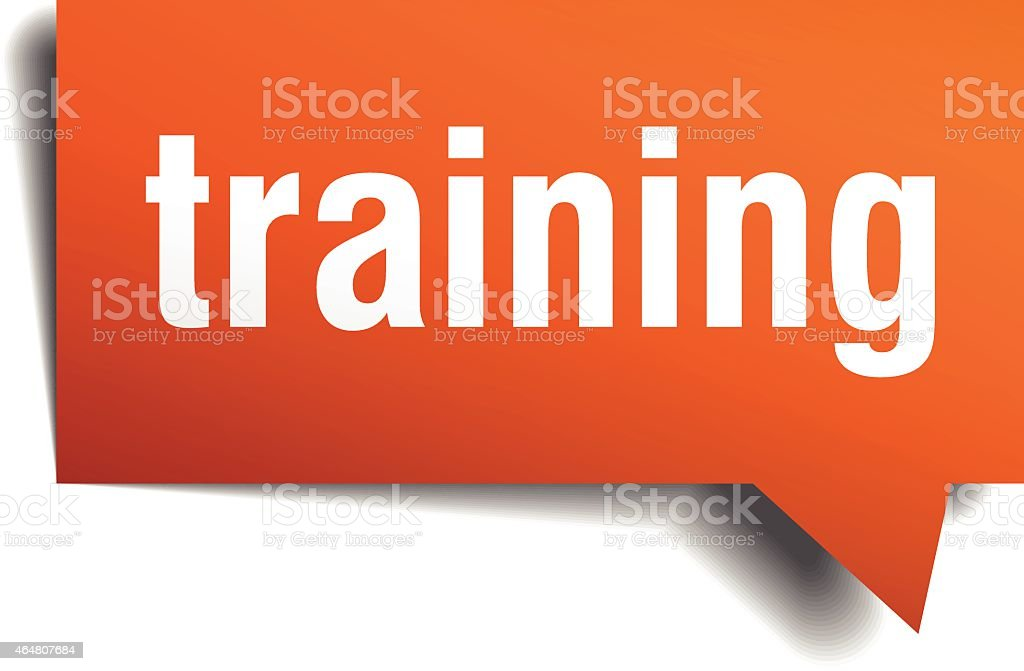 training orange speech bubble isolated on white vector art illustration