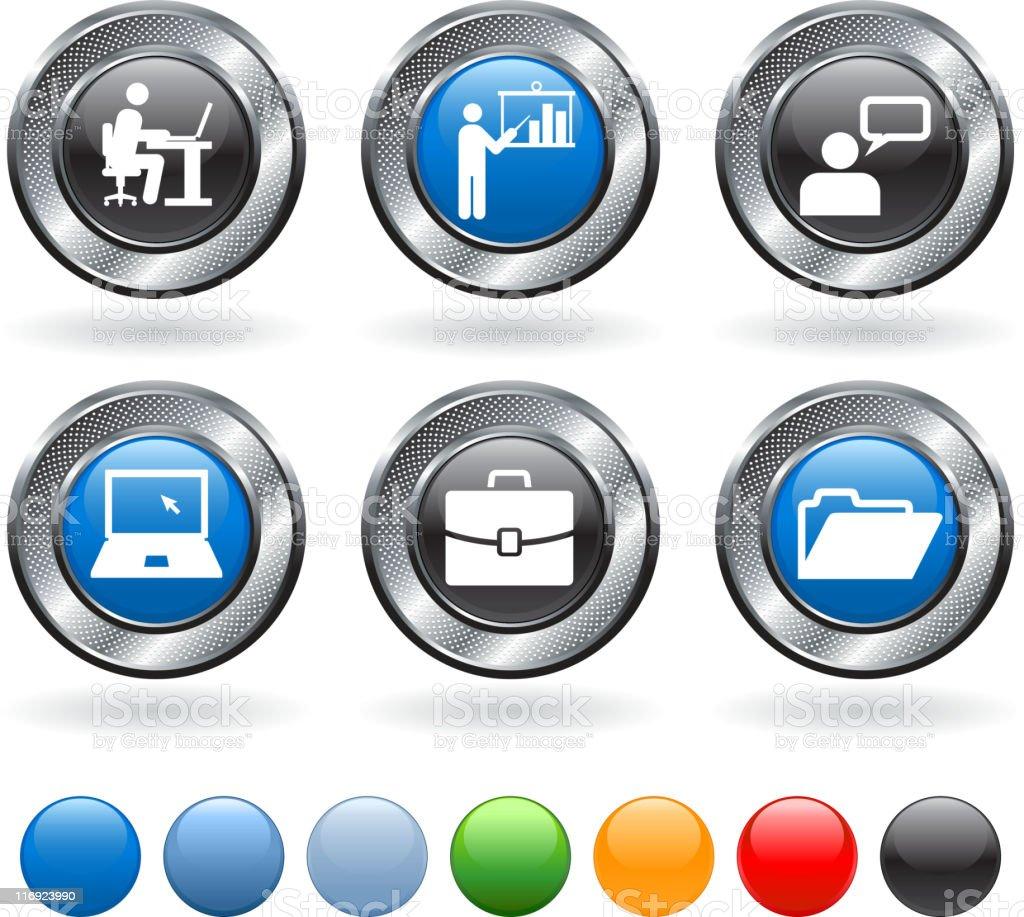 training seminar royalty free vector icon set on metallic button royalty-free stock vector art