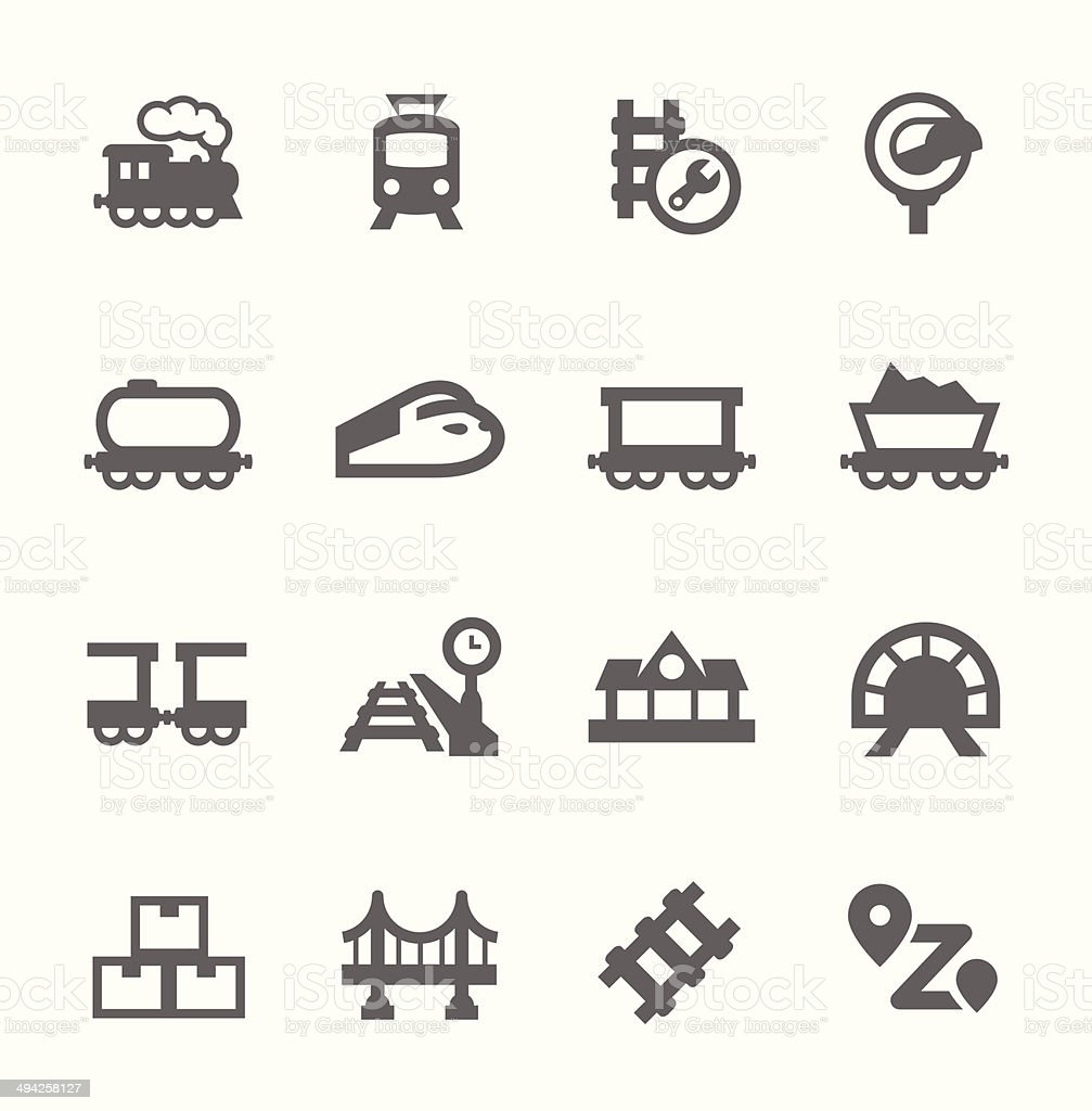 Trains Icons vector art illustration
