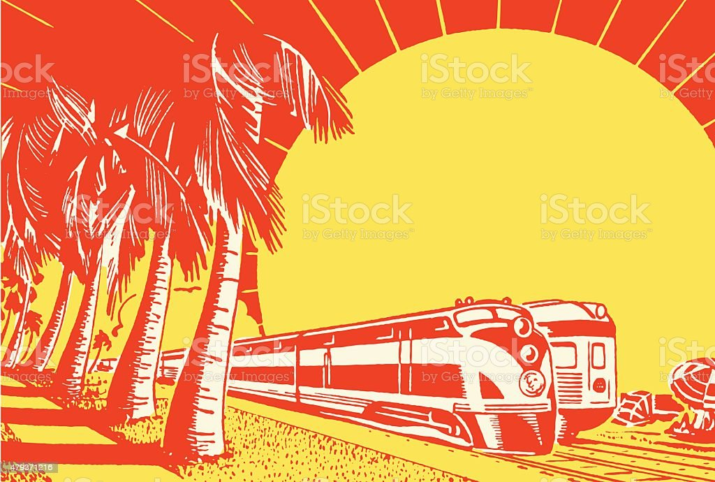 Trains Passing Each Other vector art illustration