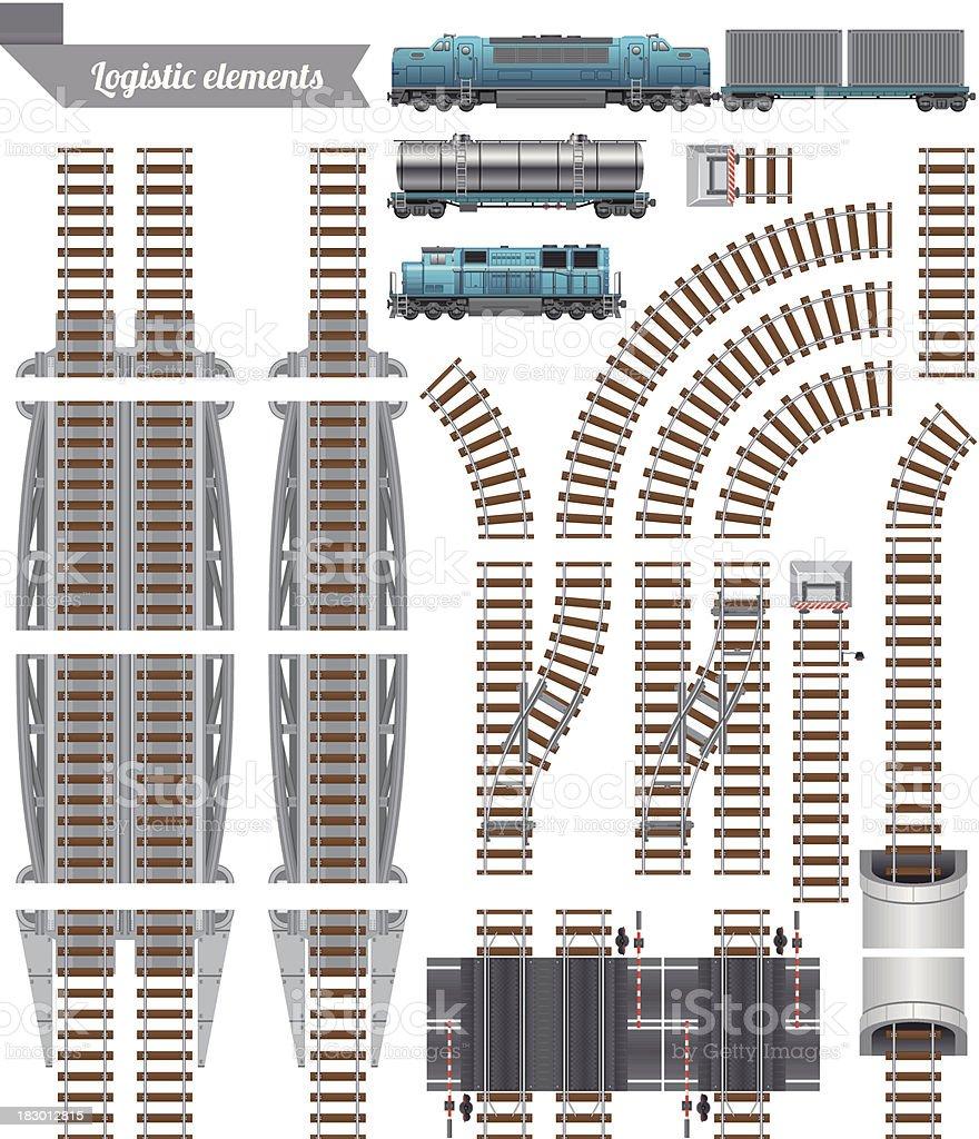 Trains Set and Railroad vector art illustration