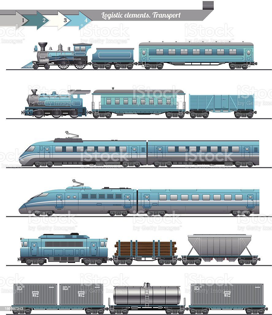 Trains Set vector art illustration