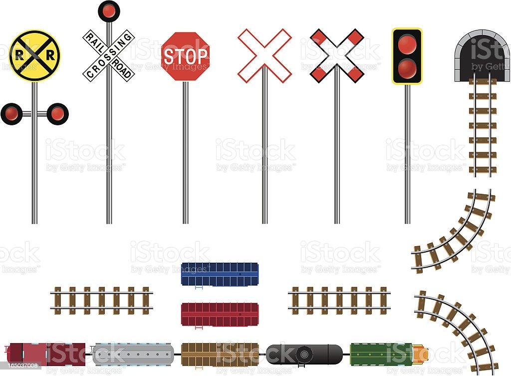 Trains, Tracks, Tunnels & Signs vector art illustration