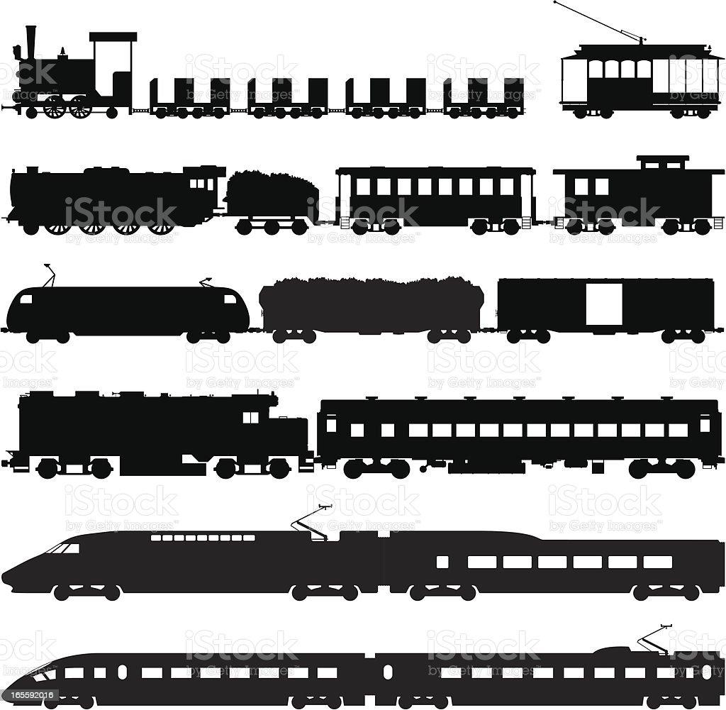 Trains vector art illustration