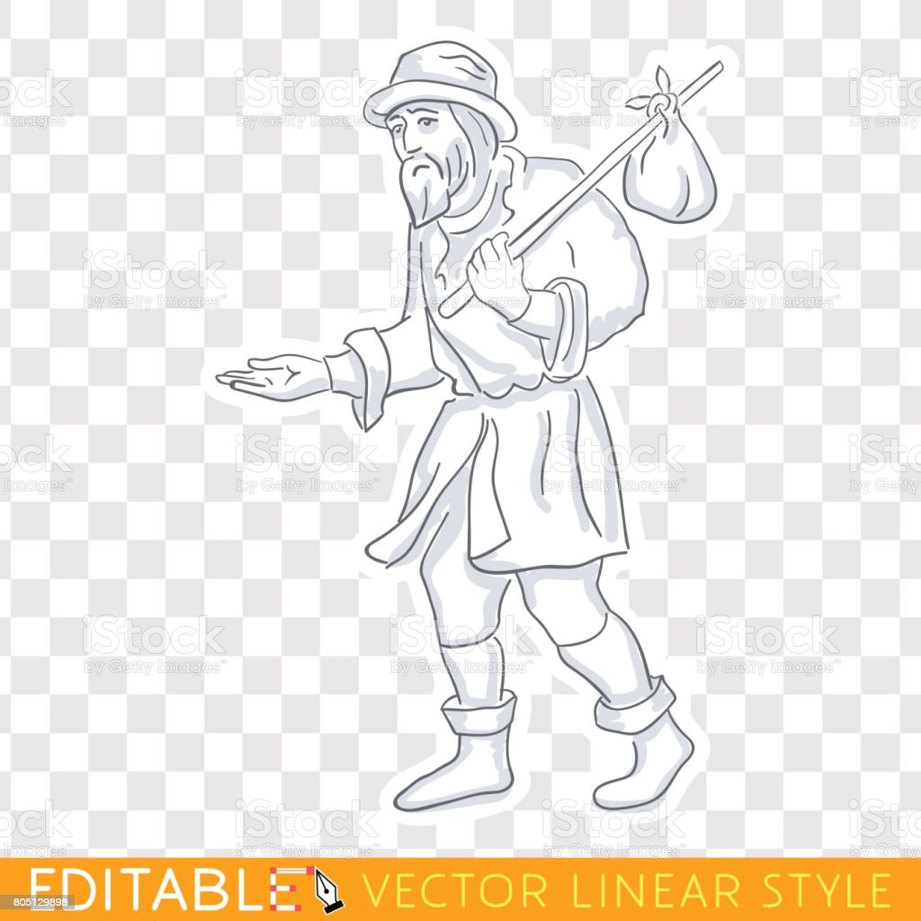 Tramp vagabond homeless. Lower social class in medieval Europe. Editable line sketch. Stock vector. Historical illustration. vector art illustration