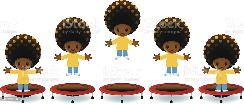 Trampoline Jump Sequence vector art illustration