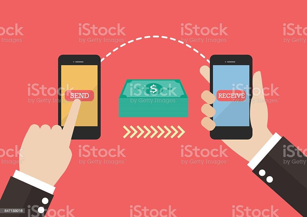 Transfer money by smart phone vector art illustration