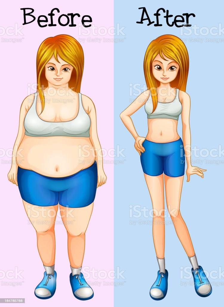 transformation from fat into slim lady royalty-free stock vector art