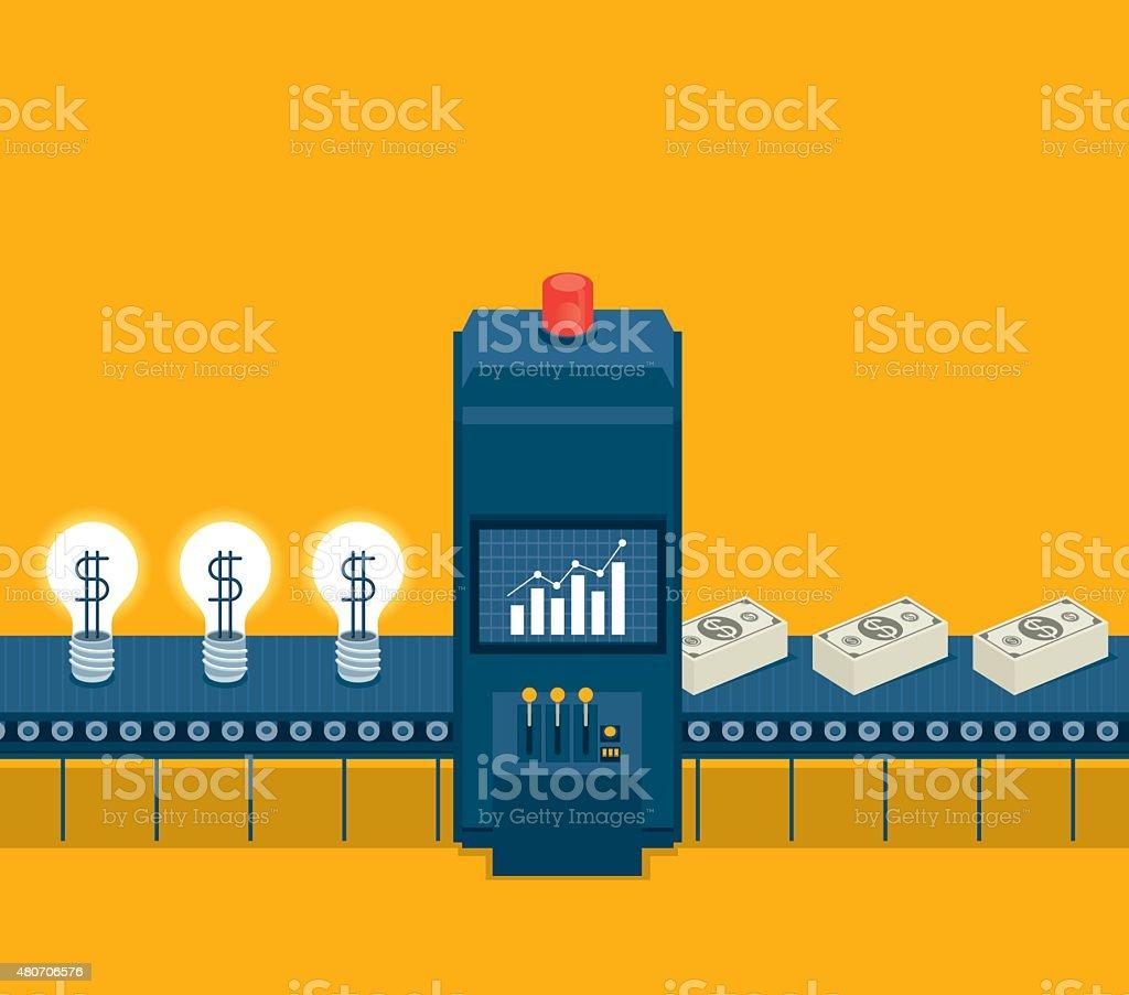 Transformation idea to money vector art illustration