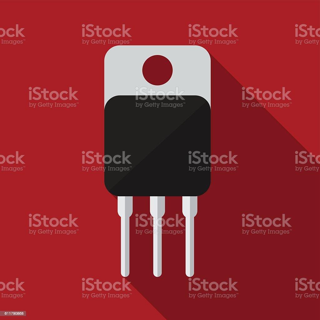 Transistor flat icon illustration vector art illustration