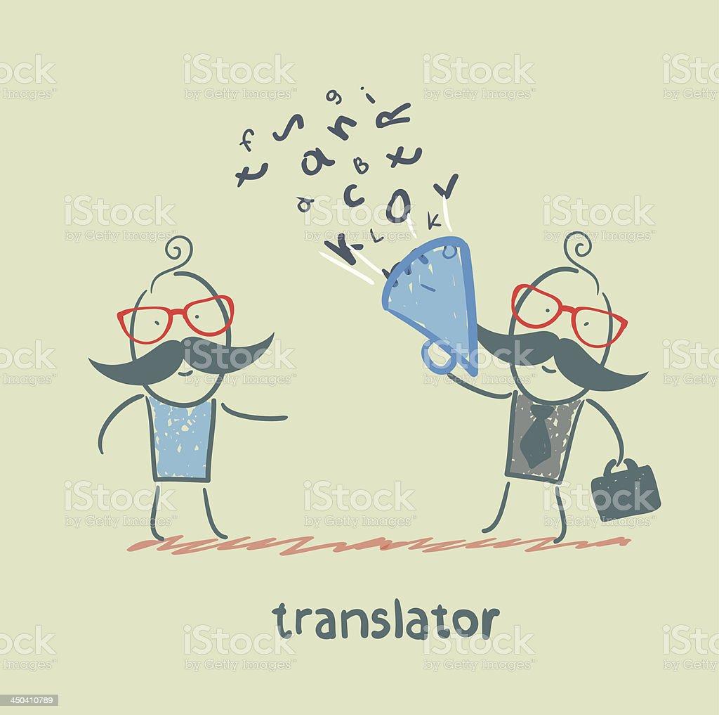 translator listens as businessman royalty-free stock vector art