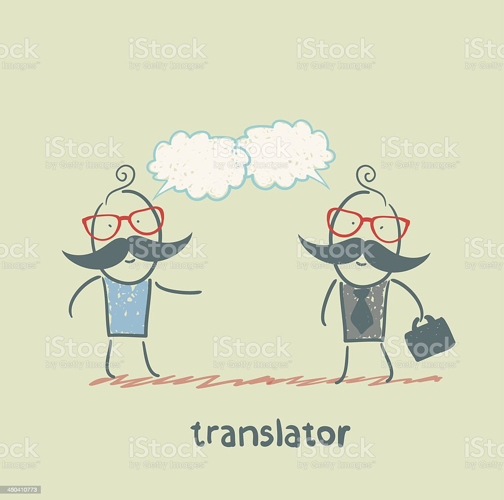 translator speaks with a businessman royalty-free stock vector art