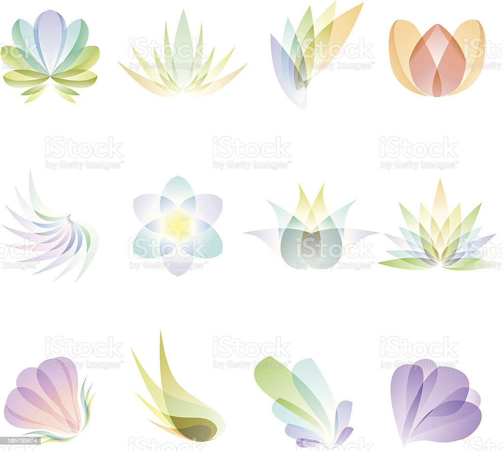 Translucent Abstract Flowers vector art illustration