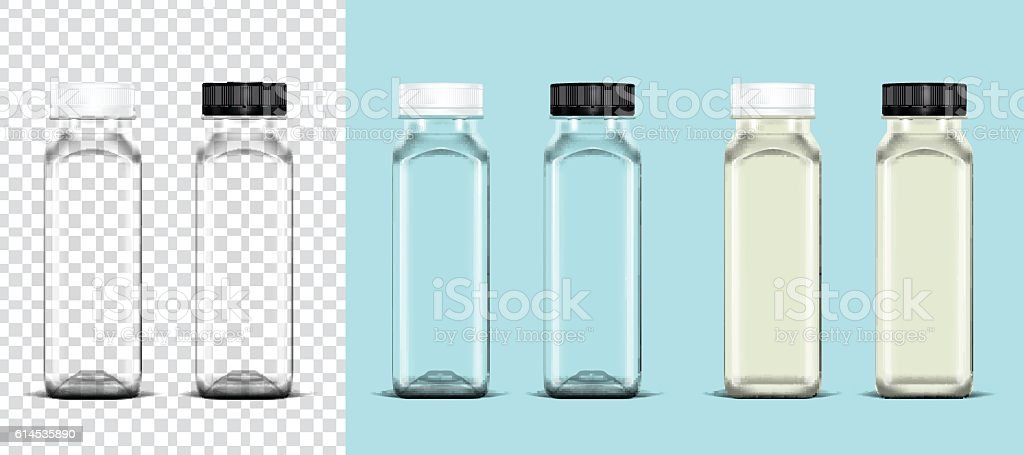 Transparency empty bottle and bottle of milk vector art illustration