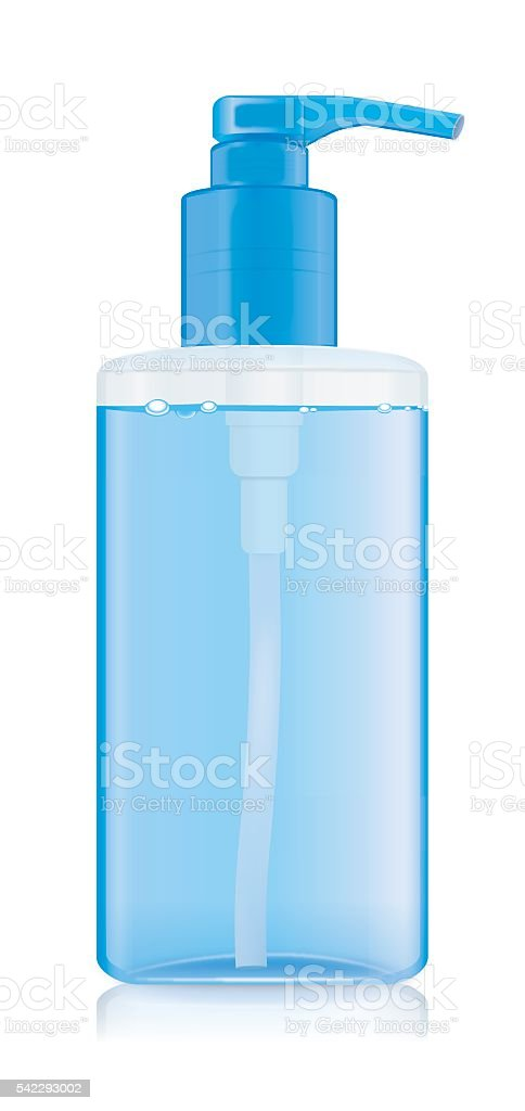 Transparency plastic bottles with blue airless pump vector art illustration