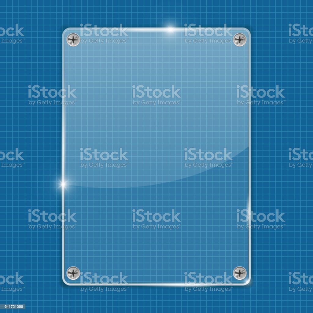 Transparent acrylic plate on blue grid background vector art illustration