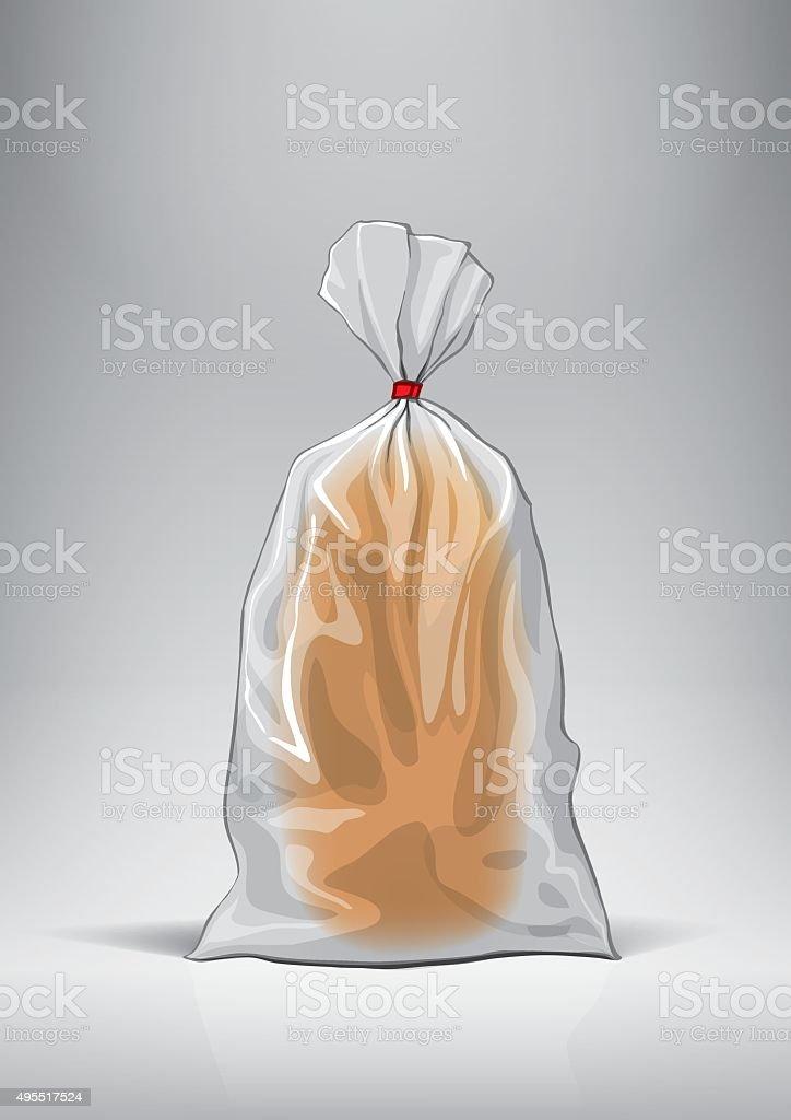 Transparent bag for new design bread package. vector art illustration