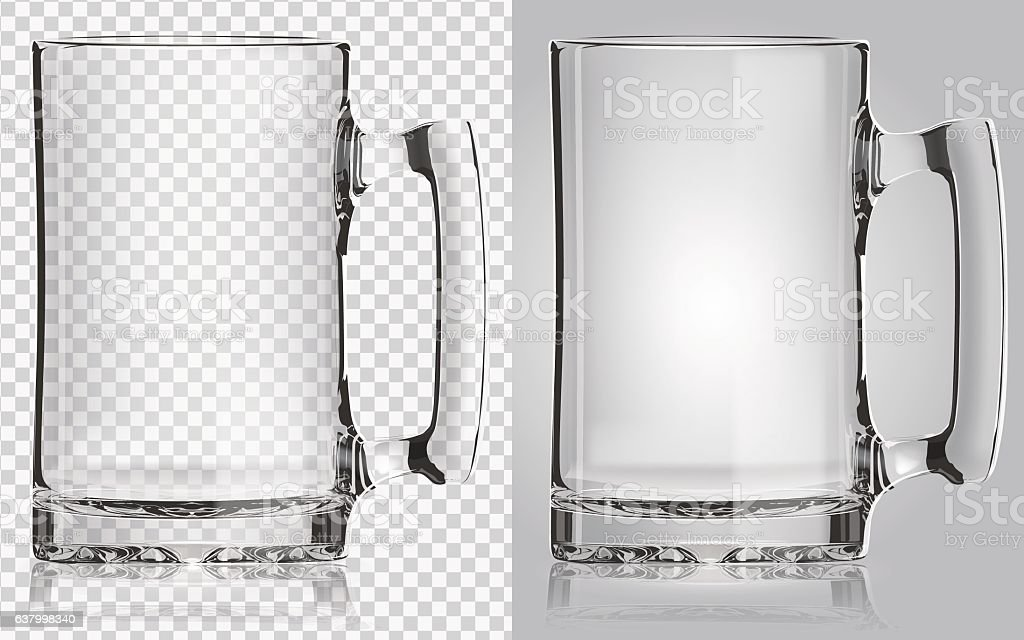 Transparent beer mug. vector art illustration