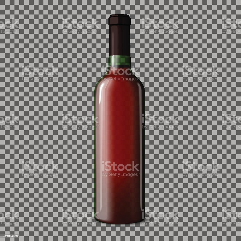 Transparent blank realistic bottle for red wine isolated on plaid vector art illustration