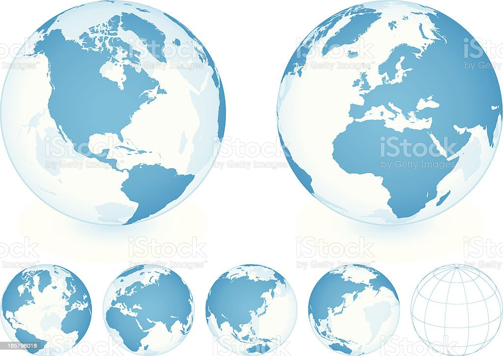 Transparent blue globe shown in five positions vector art illustration