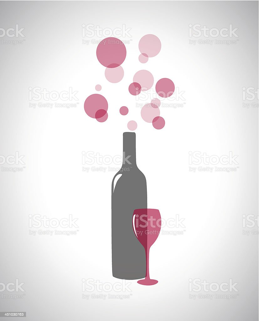 Transparent bottle of wine and glass. royalty-free stock vector art