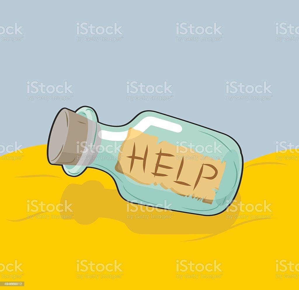 Transparent bottle with text 'Help' on sand. Glass vessel SOS vector art illustration