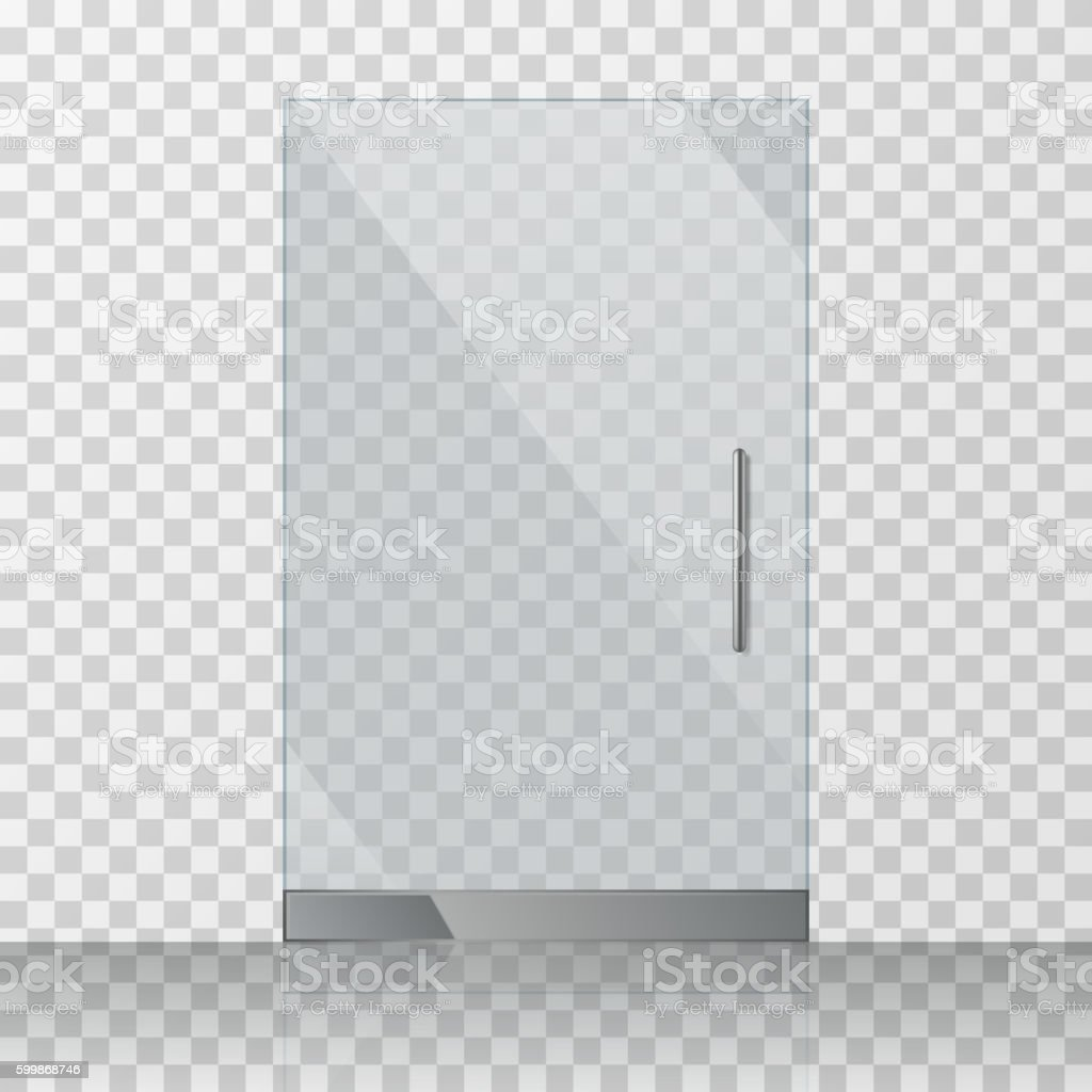 Transparent clear glass door isolated on checkered background vector illustration vector art illustration