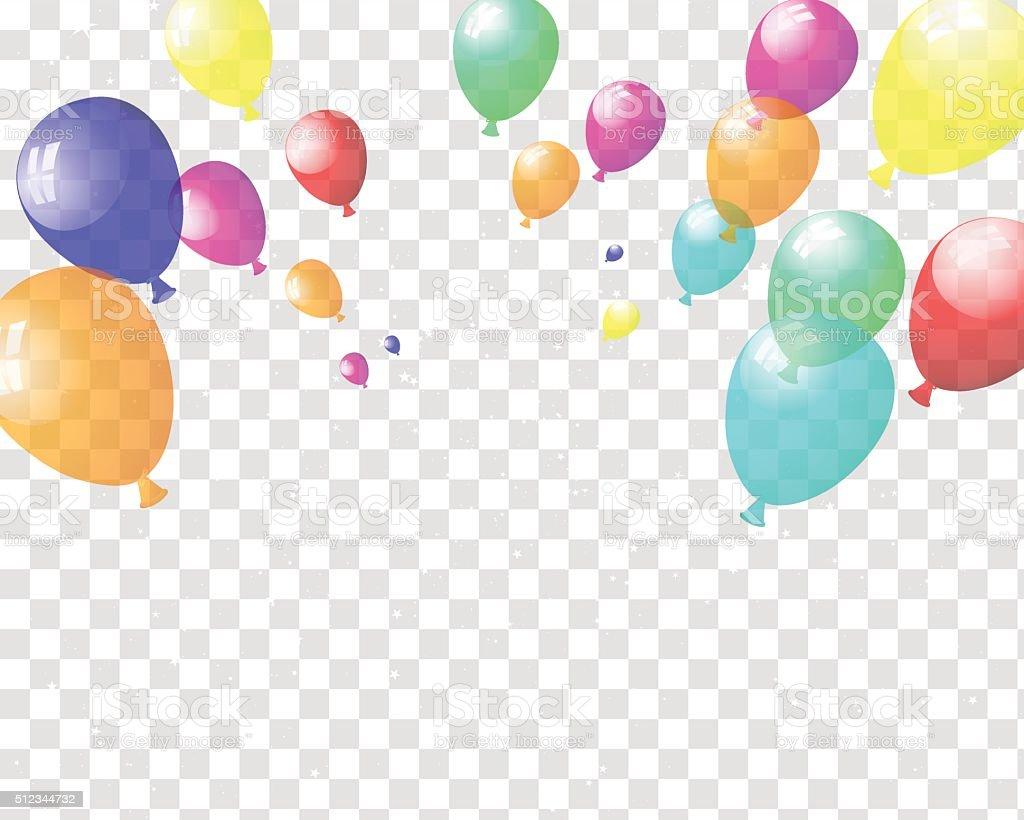 Transparent colorful balloons vector art illustration