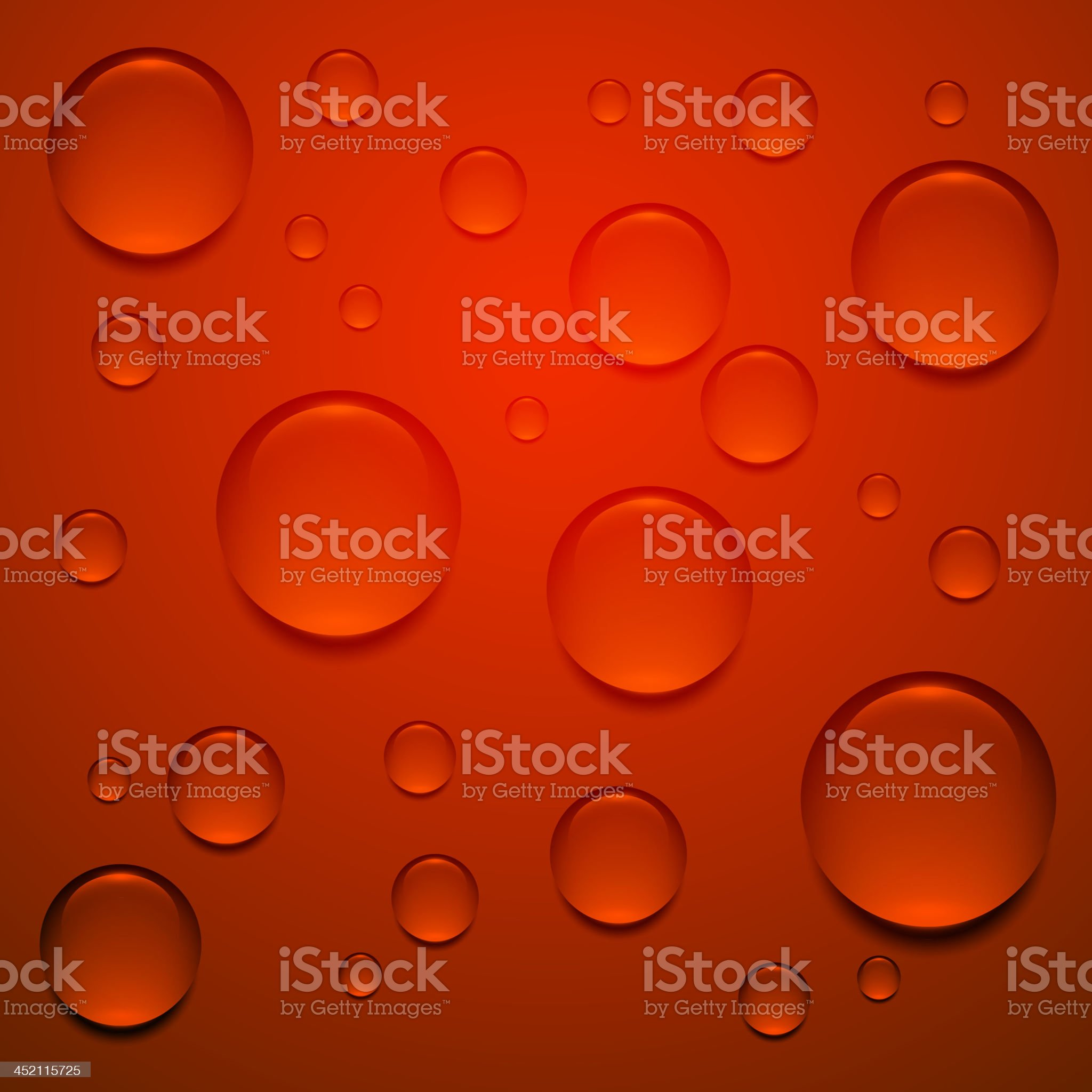 Transparent droplet on red surface royalty-free stock vector art