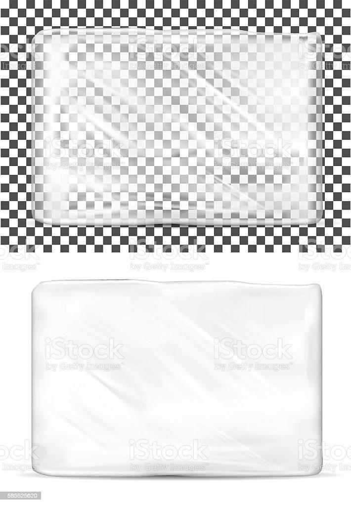 Transparent empty plastic packaging for toilet paper vector art illustration