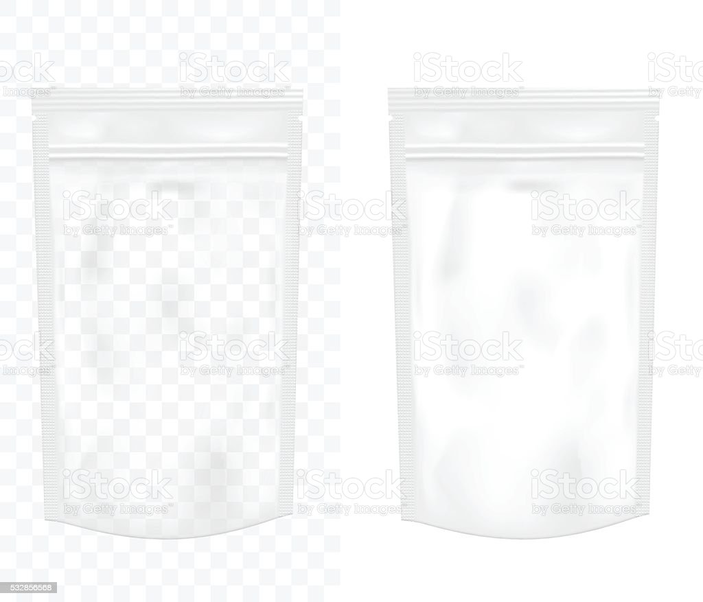 Transparent empty plastic packaging with zipper. Blank foil or p vector art illustration