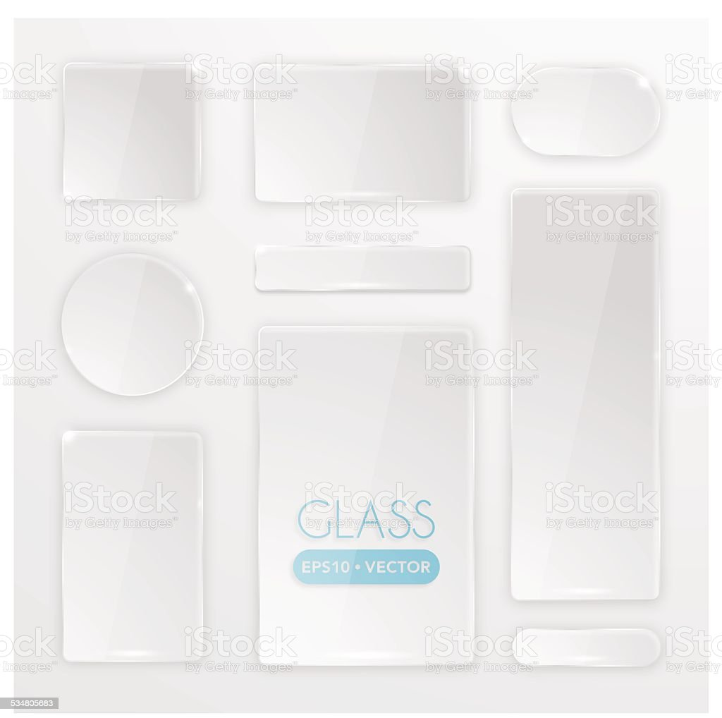 Transparent glass buttons set vector art illustration