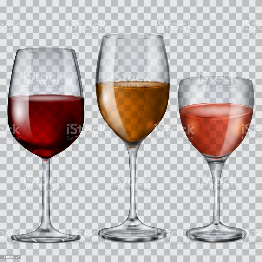 Transparent glass goblets with wine vector art illustration