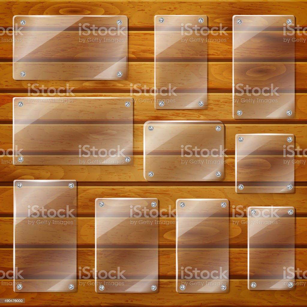 Transparent glass plates on wooden planks vector art illustration