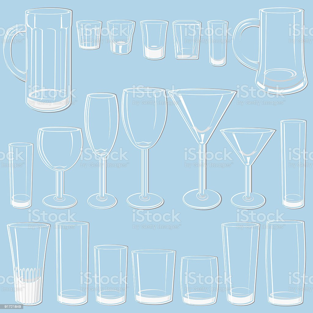Transparent glass set sketches, white on blue royalty-free stock vector art